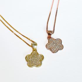collana donna in argento dorato rosa e zirconi1