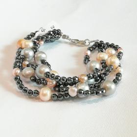 bracciale donna ematite e perle naturali