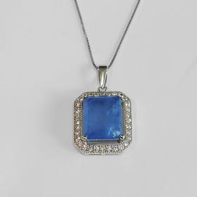 collana con ciondolo in argento, zirconi e pietra semipreziosa