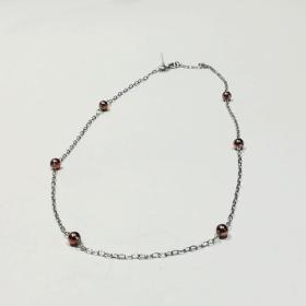collana donna argento con sfere rodiate