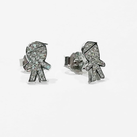 orecchini in argento con figura bimbo